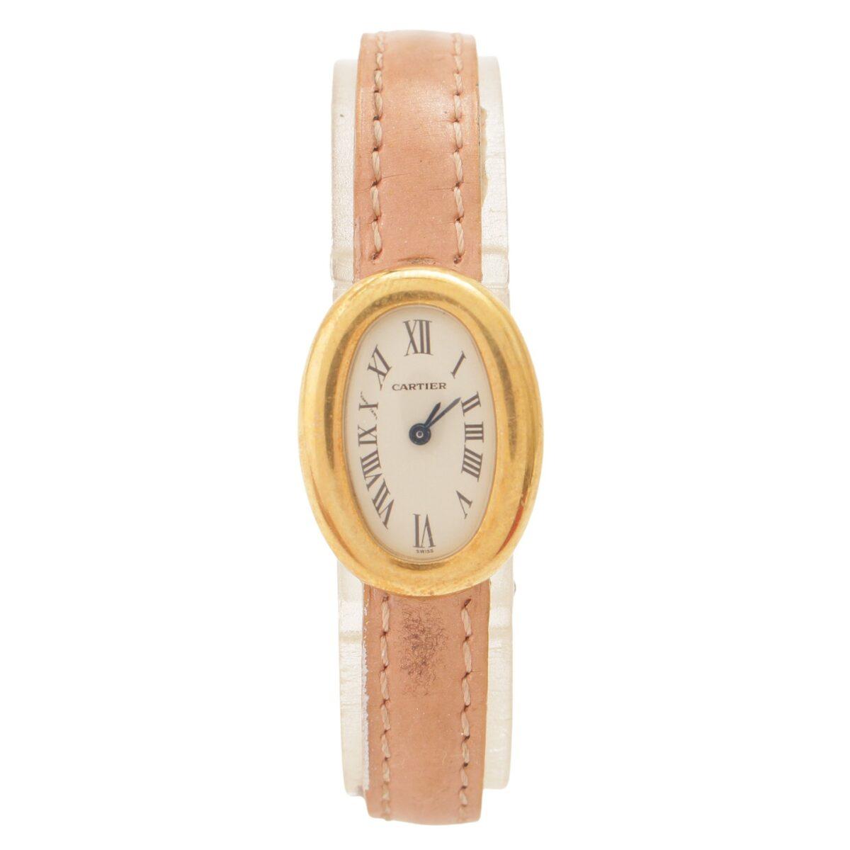 カルティエ ベニュワール K18 レザー クオーツ 時計
