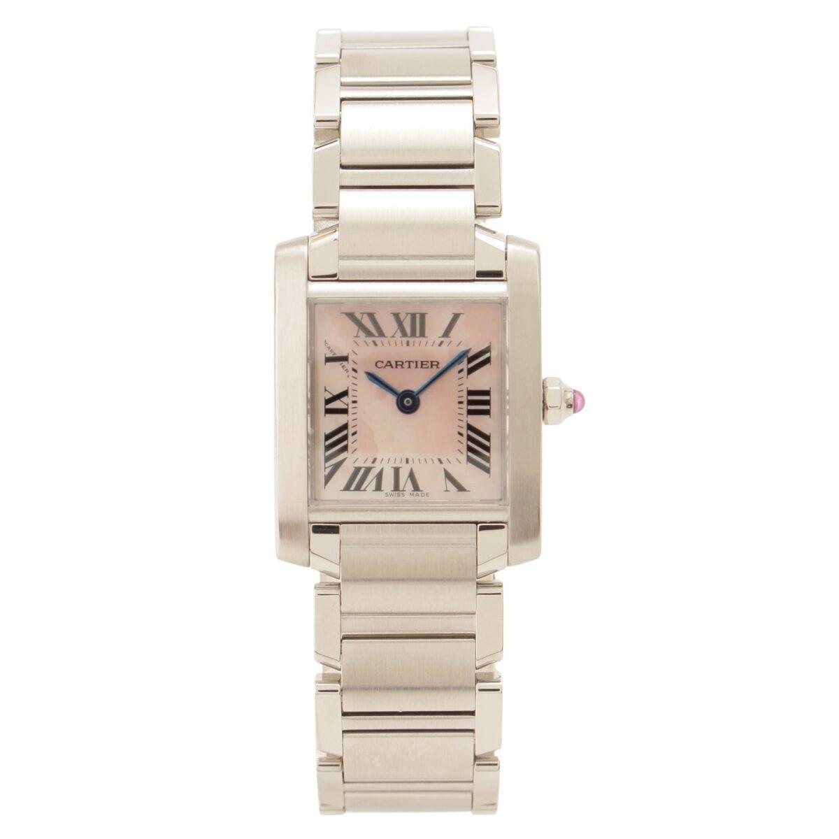 カルティエ タンクフランセーズSM レディース クオーツ ピンクシェル ローマンインデックス 2針 W51028Q3 腕時計