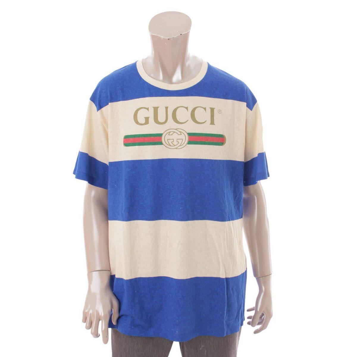 グッチ 20SS ロゴ ボーダー Tシャツ 604176
