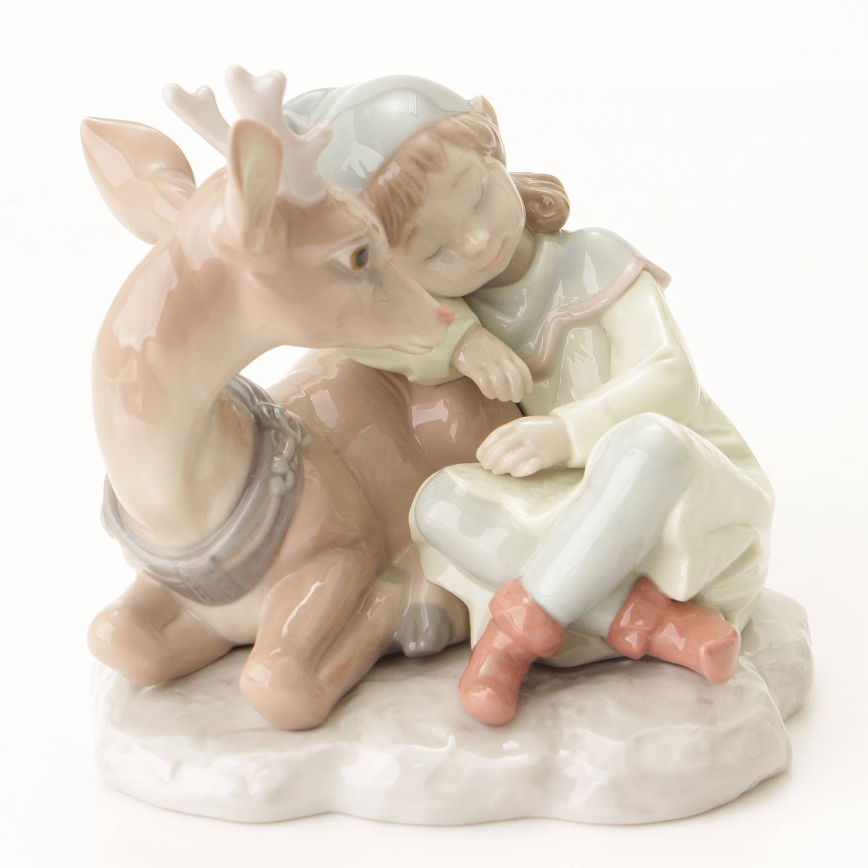 リヤドロ トナカイと妖精 Santa's Magical Workshop 6897 陶器人形 置物 インテリア