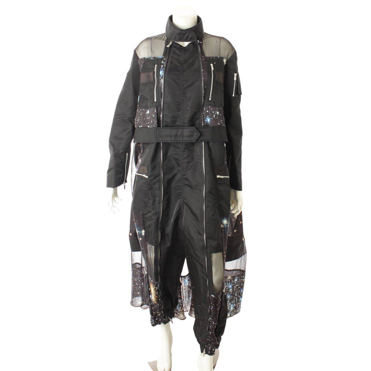 サカイ 20AW Star Print ジャンプスーツ ワンピース ドレス プリント ブラック