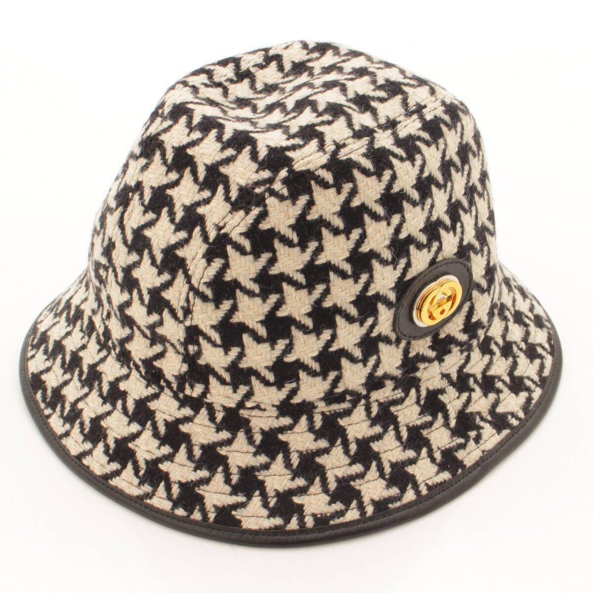 グッチ 千鳥柄 レザーパイピング ツイード バケット ハット 帽子 577731 ブラック ホワイト