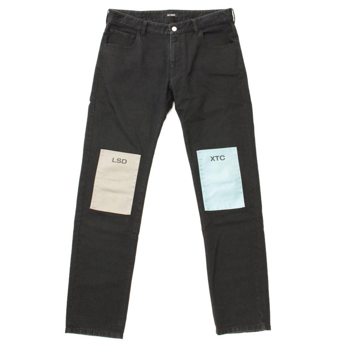 ラフシモンズ 18AW Regular fit jeans with patches パッチ デニムパンツ ブラック
