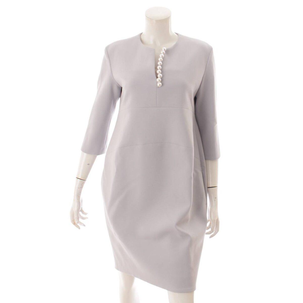 ヨーコチャン 20年 七分袖 パール スリットラインドレス ワンピース YCD-120-567 サックス