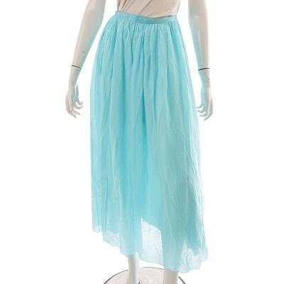 ドゥロワー リボンスカート シルク混 ブルー