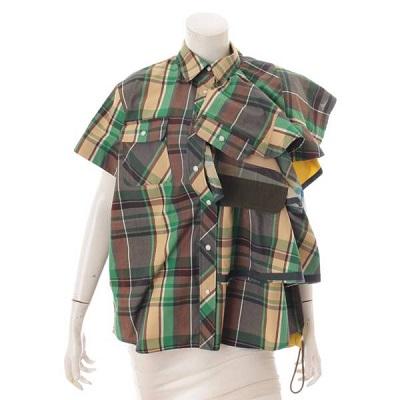 サカイ 19SS チェック柄 ドッキングシャツ 19-04452 グリーン