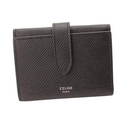 セリーヌ ファイン ストラップ ウォレット グレインドカーフスキン 三つ折り財布 10H483BEL.38SI ブラック