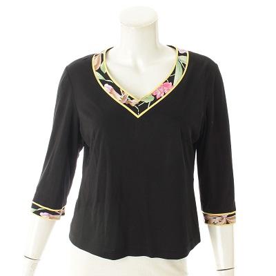 レオナール Tシャツ 襟 花柄 ブラック