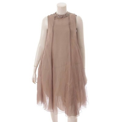 フォクシー ヘリオドール シルク ノースリーブ ビジューネック ドレス ワンピース 41180 ベージュ 38