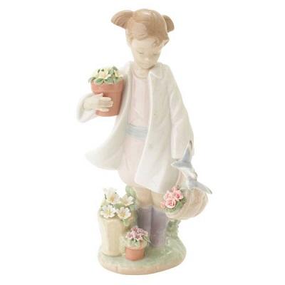 リヤドロ 置物 花と小女 雨上がりの午後 8240