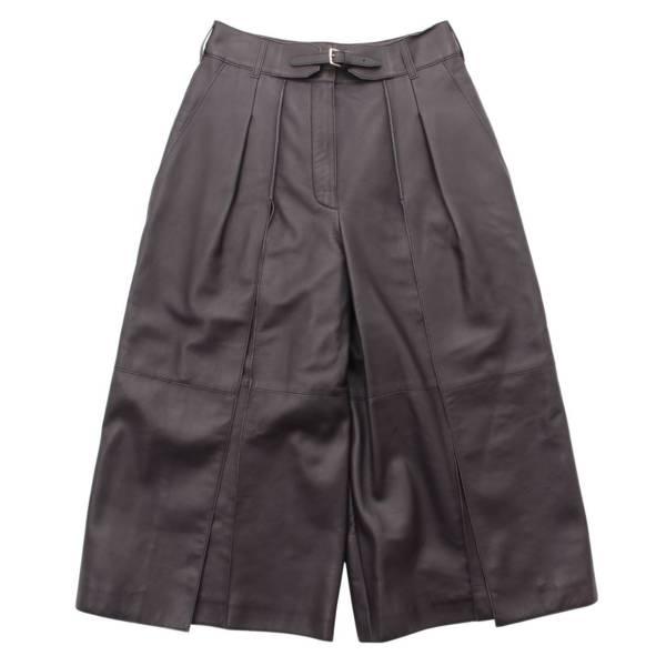 エルメス コレクションライン レザー ベルト付き スラックス パンツ