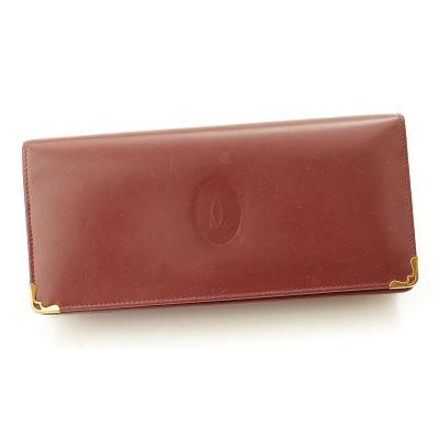 カルティエ マストライン 二つ折り財布 ボルドー