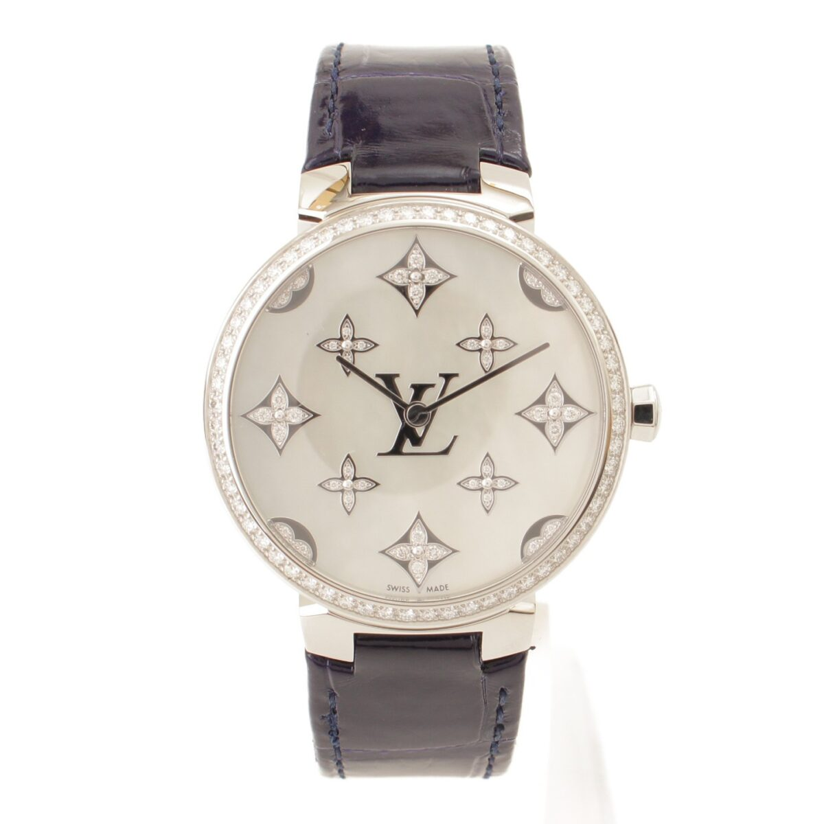 ルイヴィトン タンブール スリム モノグラム ディアモン ダンテル 33 ダイヤベゼル 腕時計 アリゲーター QA110Z 替えベルト付